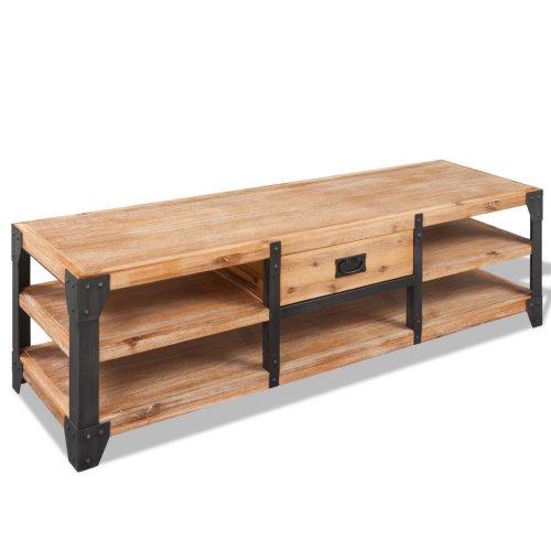 Tylko na zewnątrz Szafka RTV komoda stolik metal drewno akacja loft meblomaniak24 AR14