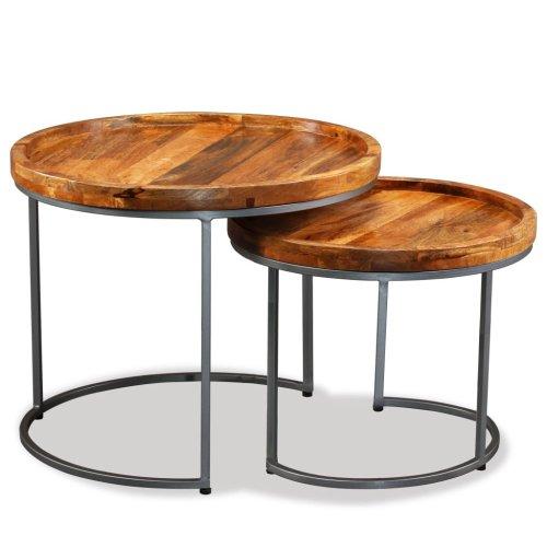 Dwa Okrągłe Stoliki Lite Drewno Mango Zestaw